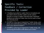 specific tools feedback correction provided by leader