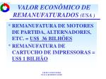 valor econ mico de remanufaturados usa