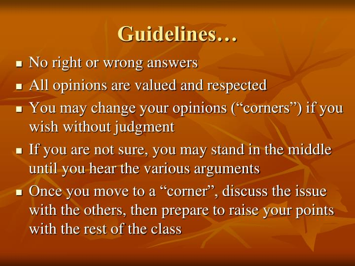 Guidelines…