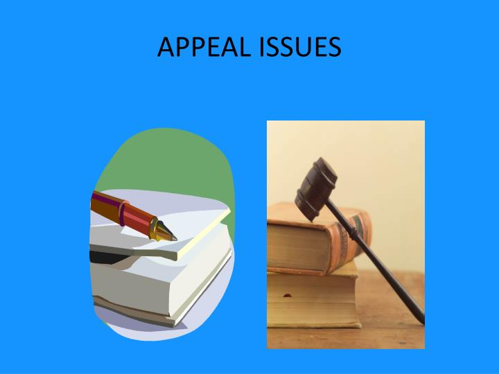 Appeal issues