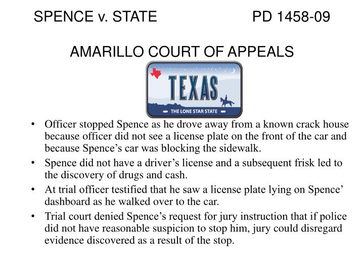 SPENCE v. STATE			PD 1458-09