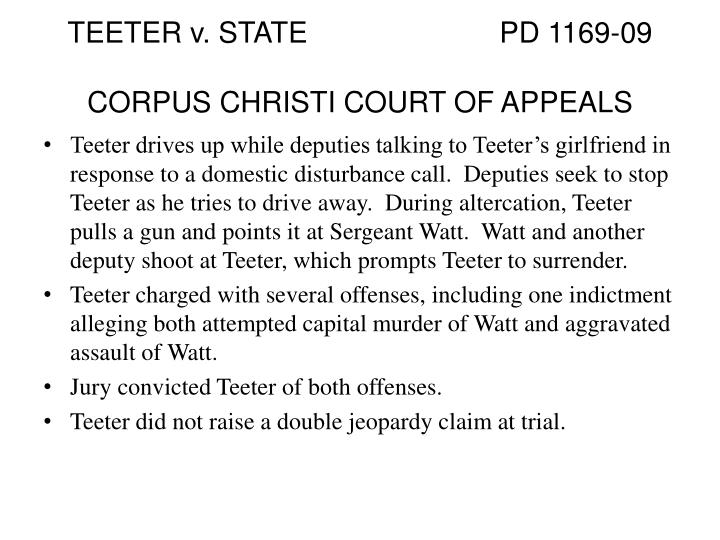 TEETER v. STATE			PD 1169-09