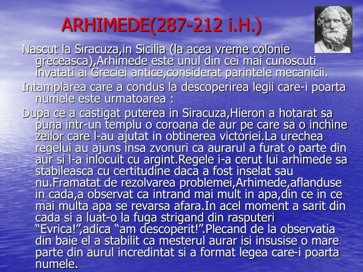ARHIMEDE(287-212 i.H.)