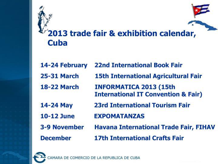 2013 trade fair & exhibition calendar,