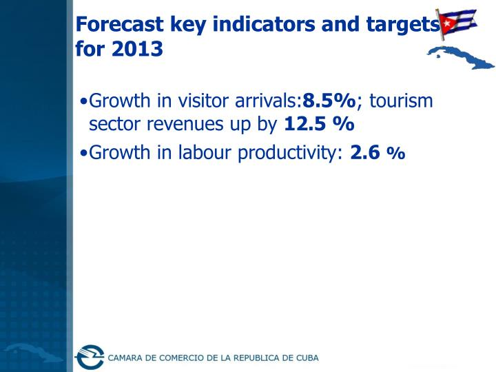 Forecast key indicators and targets for 2013