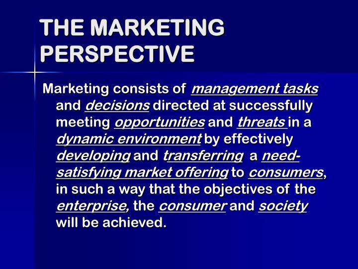 THE MARKETING PERSPECTIVE
