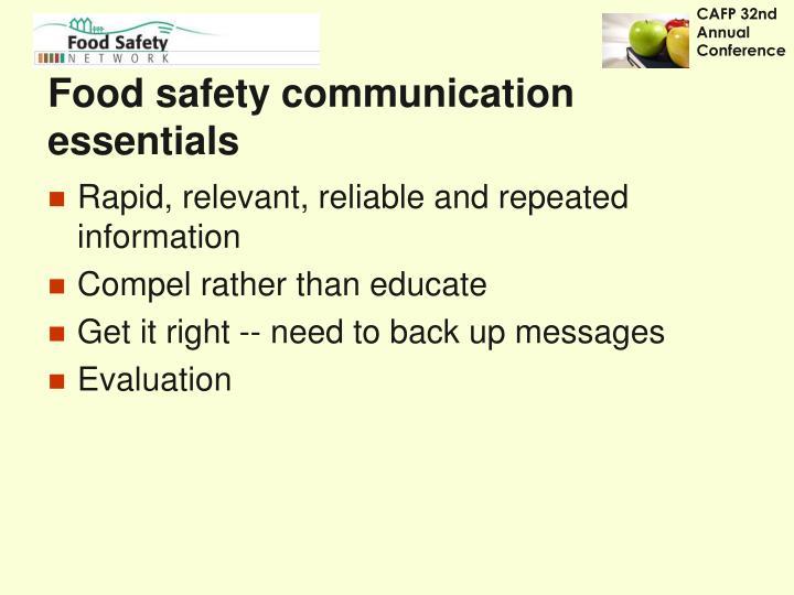 Food safety communication essentials