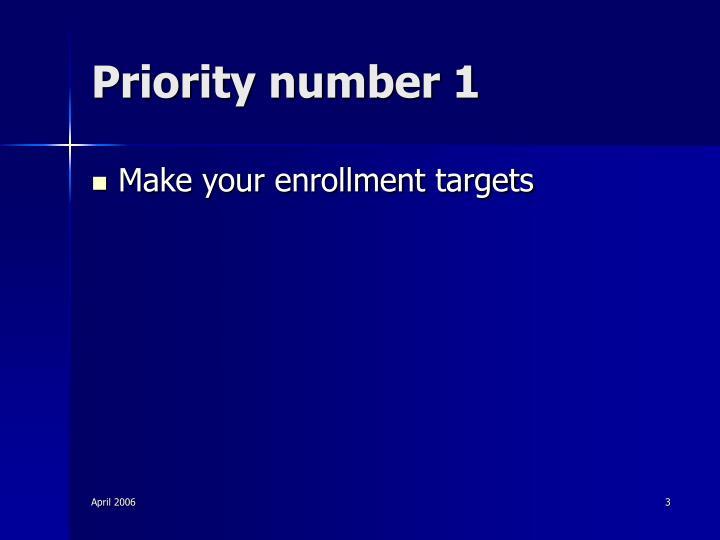 Priority number 1