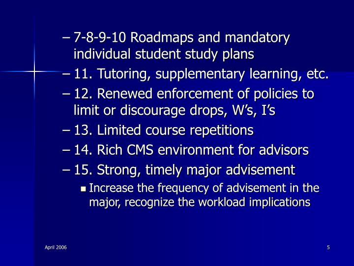 7-8-9-10 Roadmaps and mandatory individual student study plans