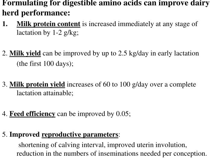 Formulating for digestible amino acids can improve dairy herd performance: