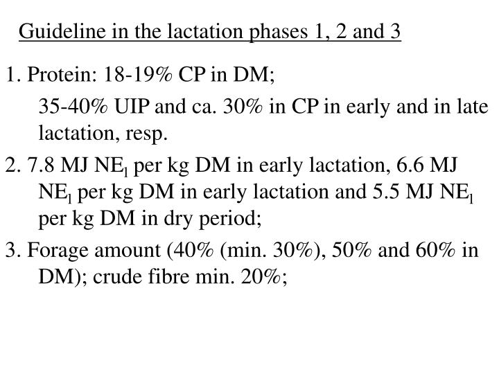 Guideline in the lactation phases 1, 2 and 3