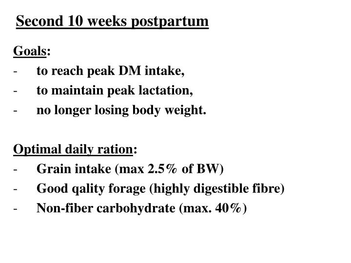 Second 10 weeks postpartum