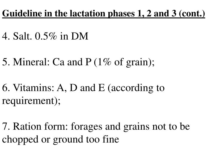 Guideline in the lactation phases 1, 2 and 3 (cont.)