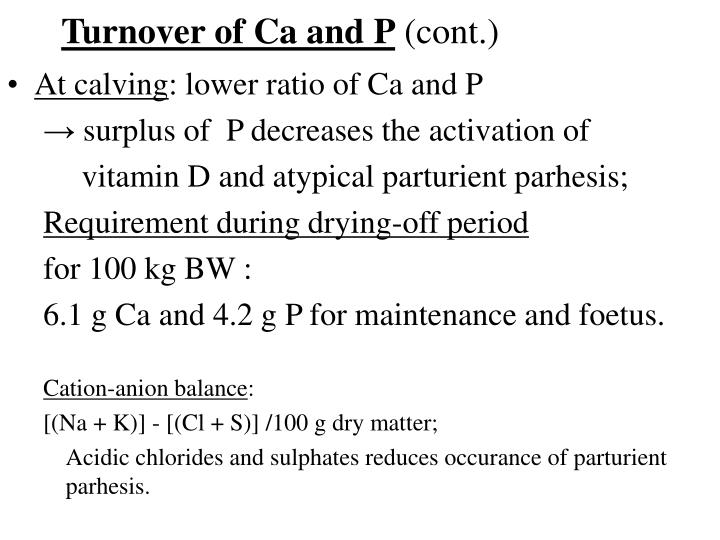Turnover of Ca and P