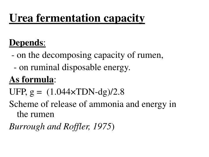 Urea fermentation capacity