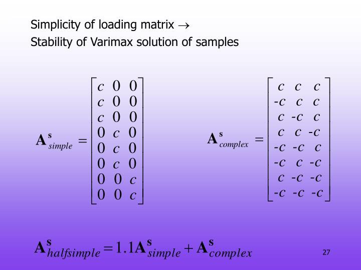 Simplicity of loading matrix