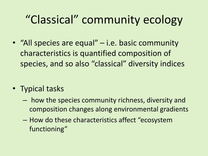Classical community ecology