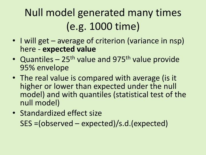 Null model generated many times