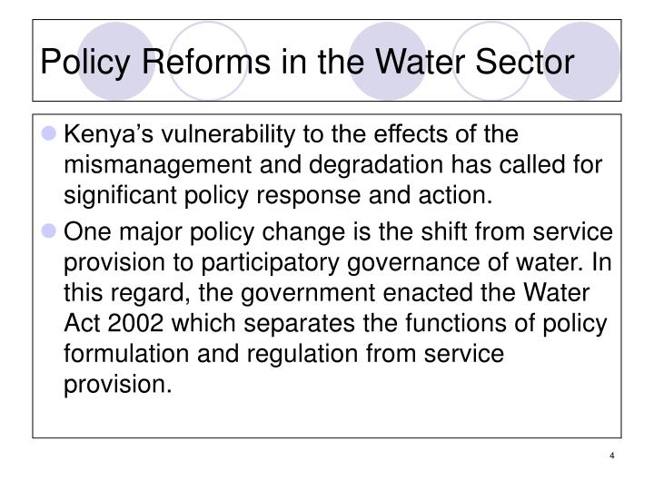 Policy Reforms in the Water Sector