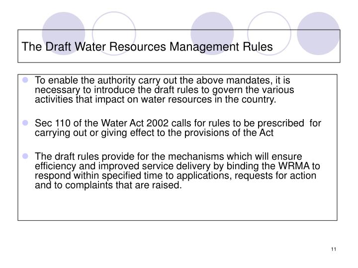 The Draft Water Resources Management Rules