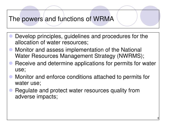 The powers and functions of WRMA