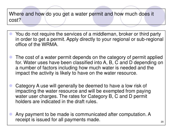 Where and how do you get a water permit and how much does it cost?