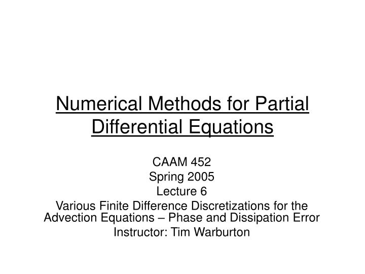 Finite Difference Methods Numerical Partial Differential Equations