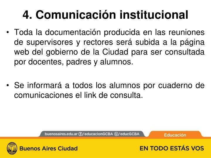 4. Comunicación institucional