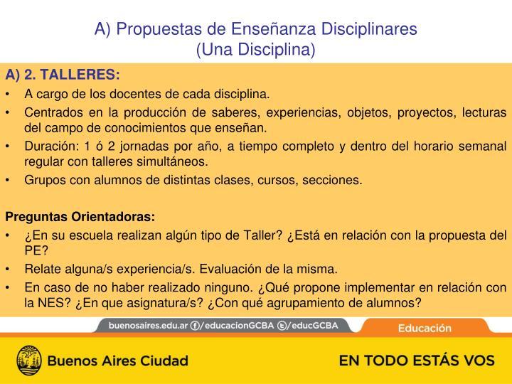 A) Propuestas de Enseñanza Disciplinares