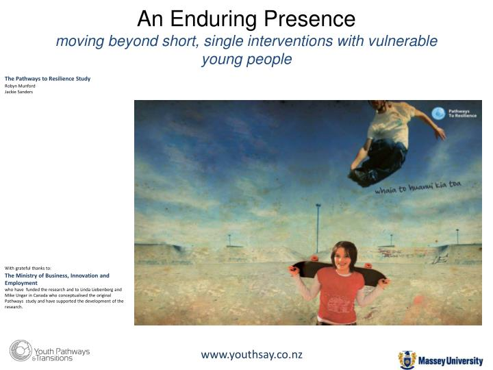 An enduring presence moving beyond short single interventions with vulnerable young people