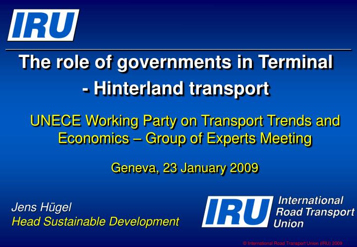 the role of governments in terminal hinterland transport n.