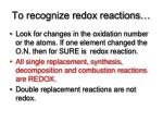 to recognize redox reactions
