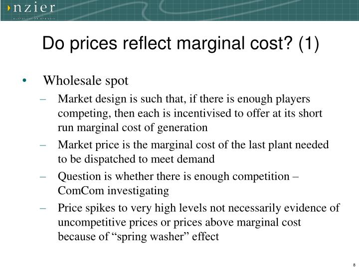 Do prices reflect marginal cost? (1)