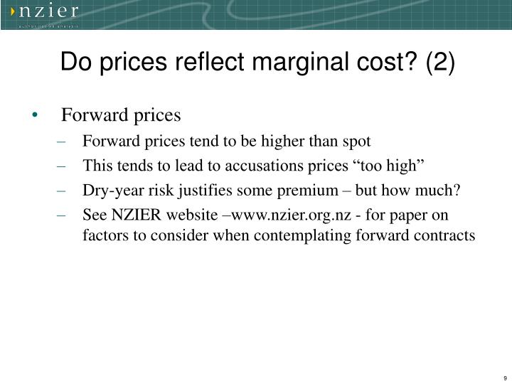 Do prices reflect marginal cost? (2)