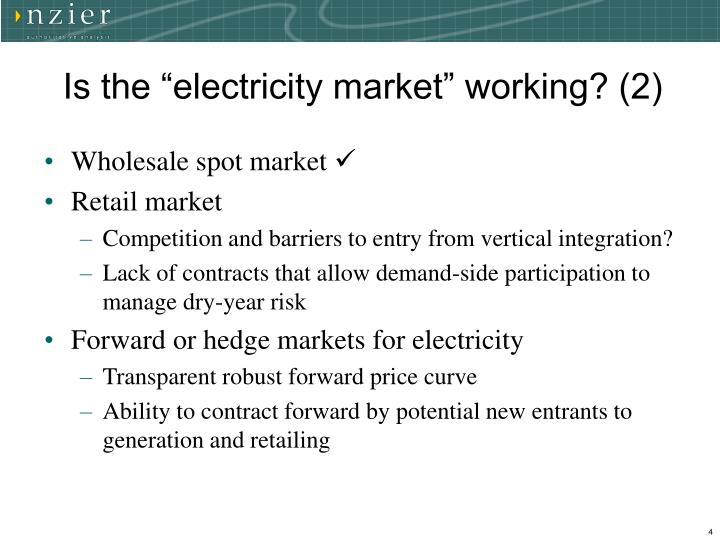 """Is the """"electricity market"""" working? (2)"""