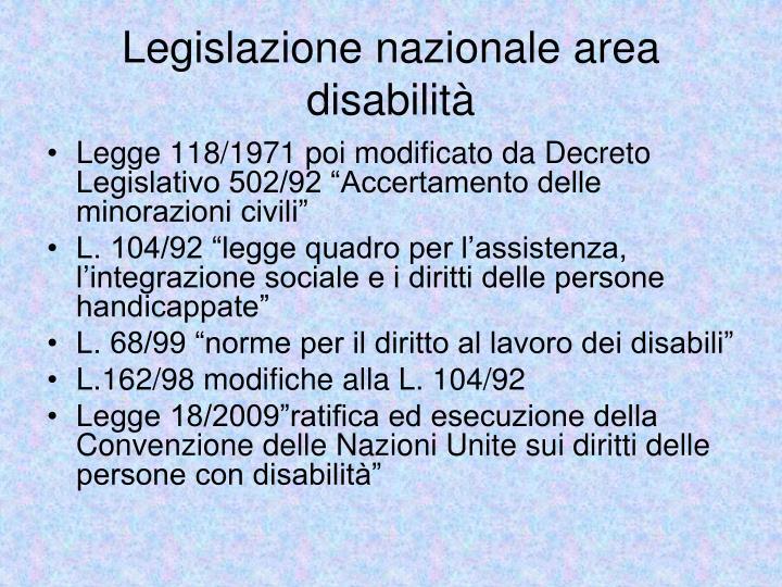 Legislazione nazionale area disabilità