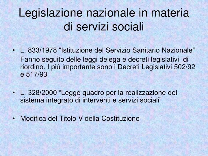 Legislazione nazionale in materia di servizi sociali
