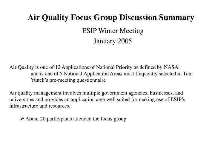 air quality focus group discussion summary n.