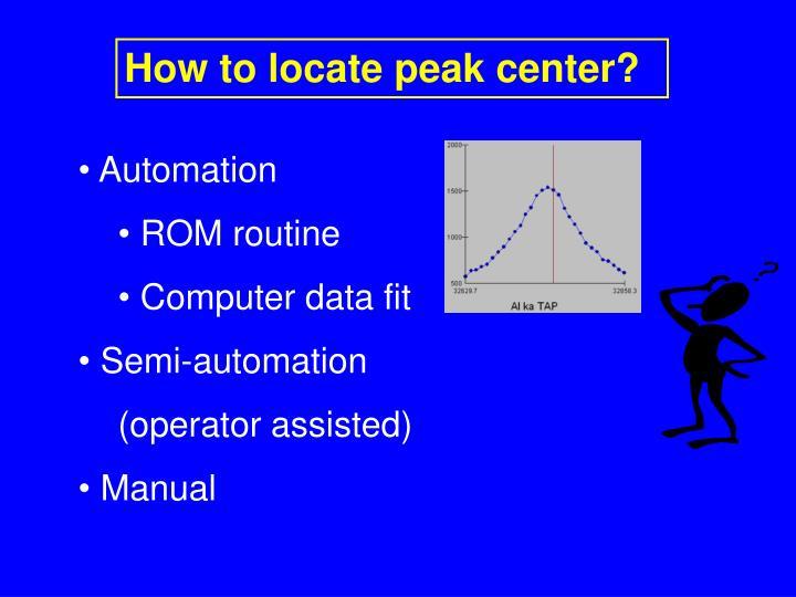 How to locate peak center?