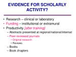 evidence for scholarly activity1