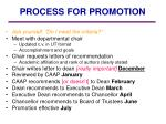 process for promotion