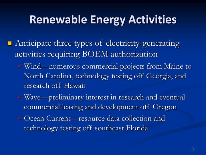 Renewable energy activities