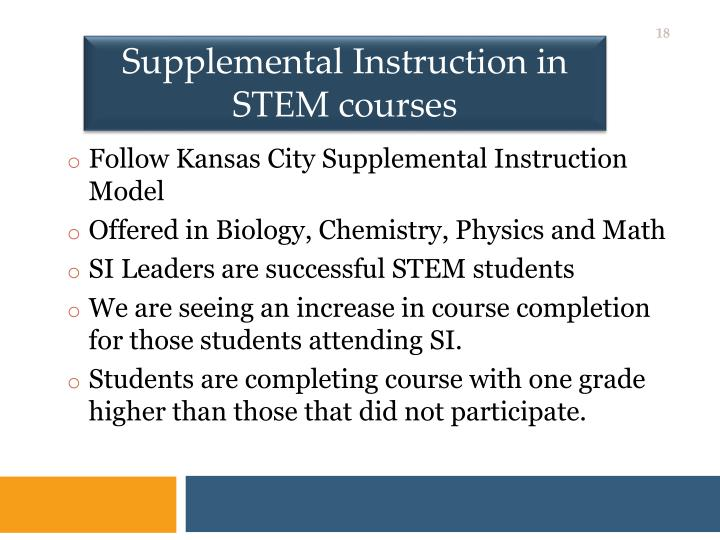 Supplemental Instruction in STEM courses