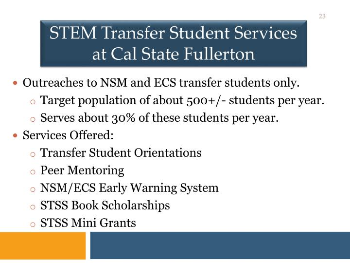 STEM Transfer Student Services at Cal State Fullerton