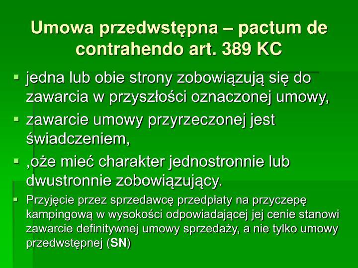 Umowa przedwstępna – pactum de contrahendo art. 389 KC