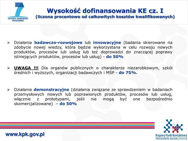 Wysokość dofinansowania KE cz. I