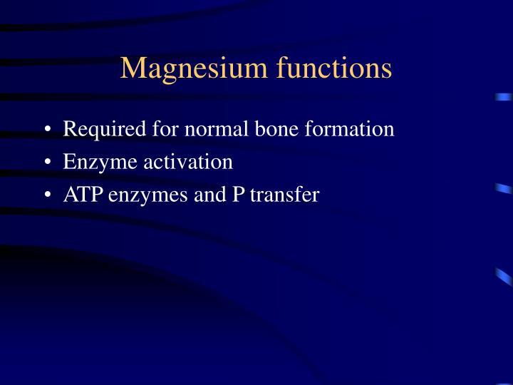 Magnesium functions
