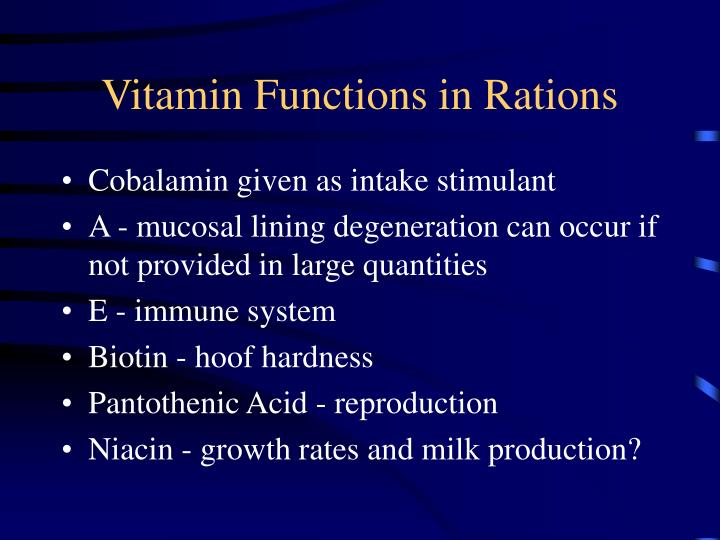 Vitamin Functions in Rations