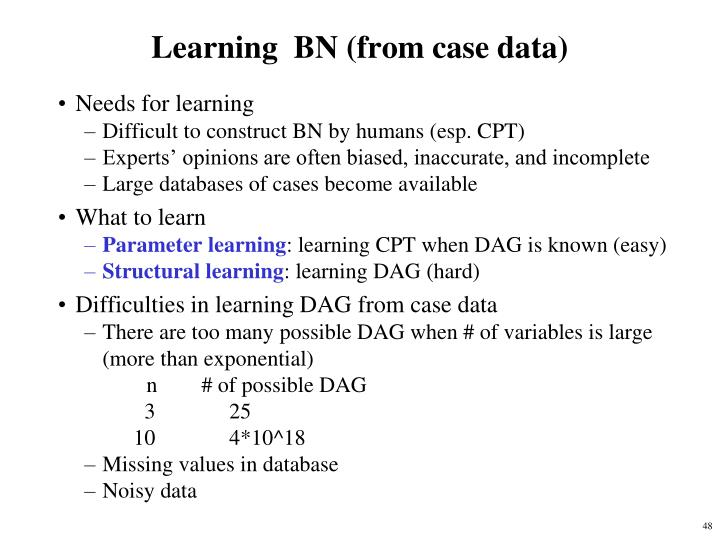 Learning  BN (from case data)