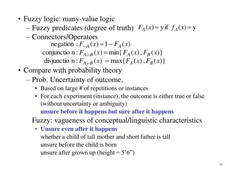 Fuzzy logic: many-value logic